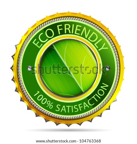 Eco friendly gold icon - stock vector