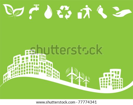 Eco friendly green city with wind turbines - stock vector