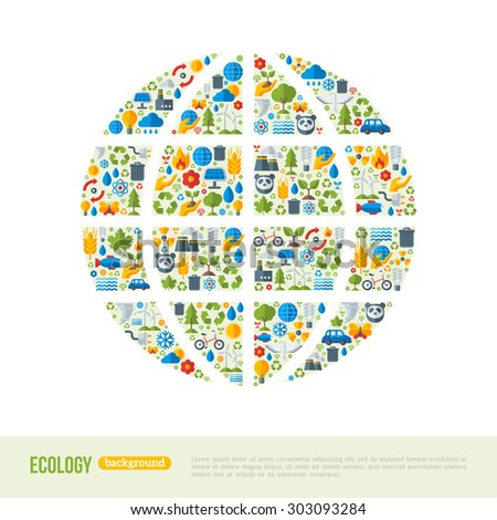Eco Friendly, green energy concept, vector illustration. Globe symbol with flat ecology icons. Save the planet concept. Go green. Save the Earth. Earth Day.