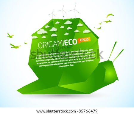 Eco friendly green origami snail template - stock vector