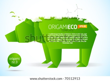 Eco friendly green origami template bear - stock vector