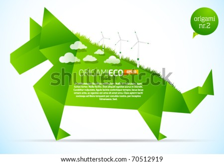 Eco friendly green origami template dog - stock vector