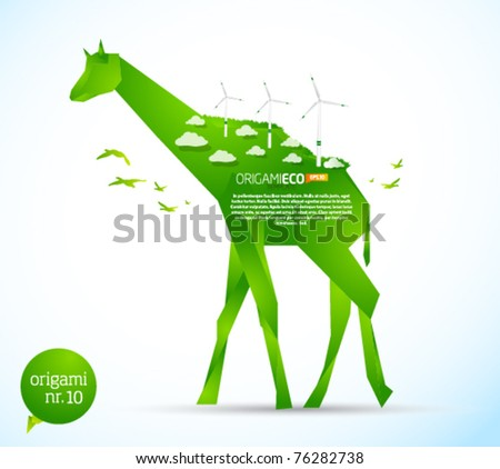 Eco friendly green origami template giraffe - stock vector