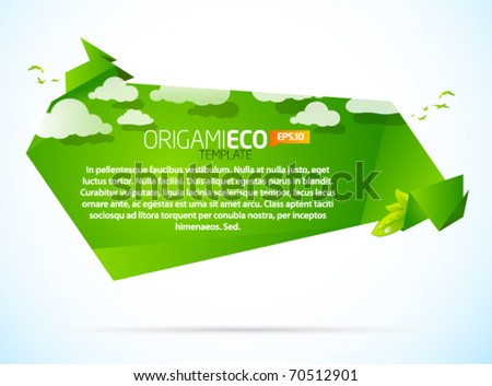 Eco friendly green origami template with clouds - stock vector