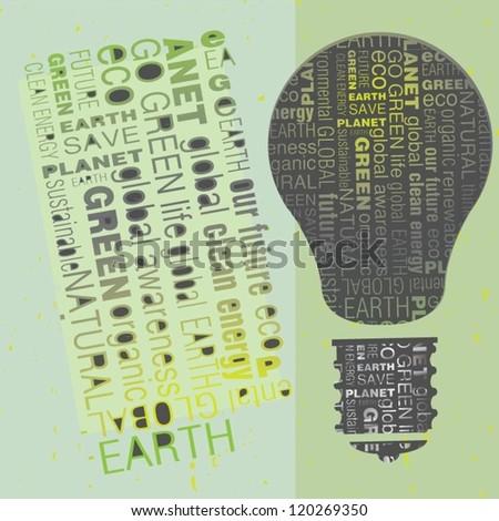 Eco Friendly green word design light bulbs - stock vector