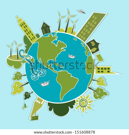 Eco friendly green world trees, buildings, houses, wind turbines and green sun illustration. Vector layered for easy editing. - stock vector