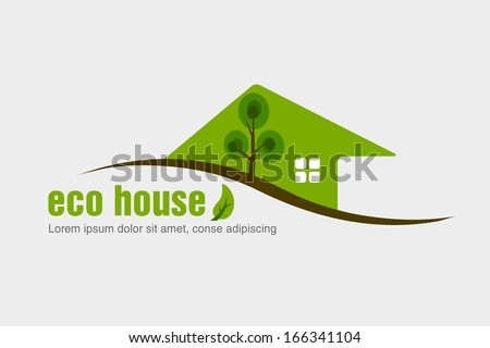 Eco friendly house design. concept of ecology - stock vector