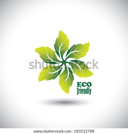 Eco friendly icon circle of leaves - concept vector. This graphic also  represents nature conservation, biosphere protection, ecological balance, etc - stock vector