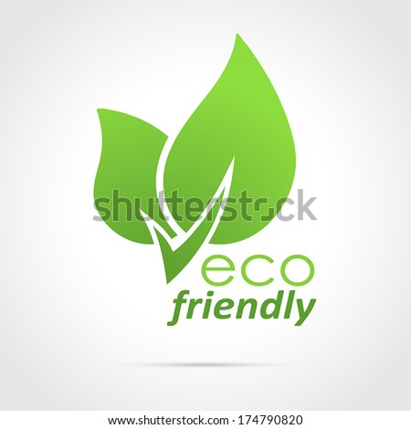 Eco friendly icon green leaves - vector - stock vector