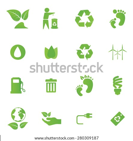 Eco friendly icon set in green