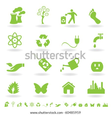 Eco friendly icon set in green - stock vector