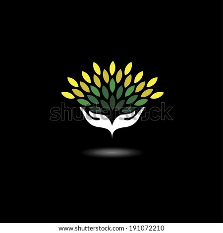 eco friendly icon with girls hands and green leaves - concept vector. The graphic illustration also represents nature protection, ecology, environment conservation, spa, etc - stock vector