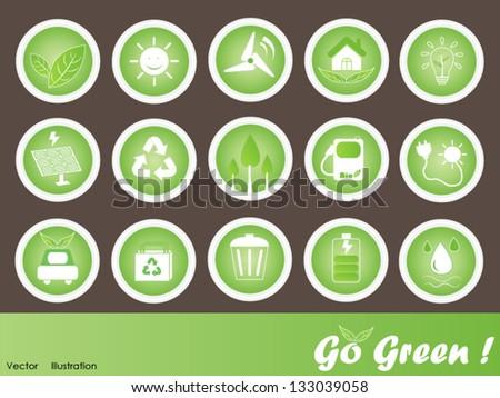Eco Friendly Icons Vector Set: Go Green - stock vector