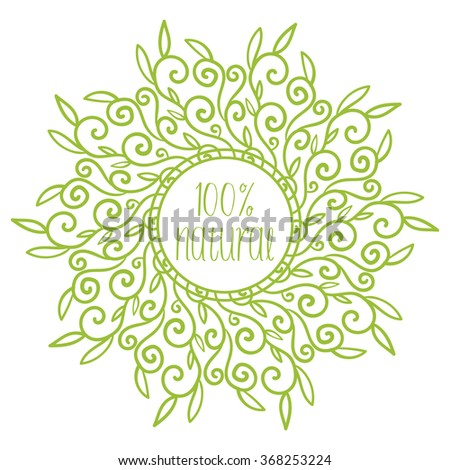 Eco friendly 100% natural banner. For banners, posters,, cards, stickers, advertisement. Vector illustration  - stock vector