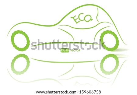 Eco friendly nonpolluting car vector illustration. Green energy hybrid car vector design. Simple creative green ecological racing vehicle with reflection. Easy to edit vector illustration.  - stock vector