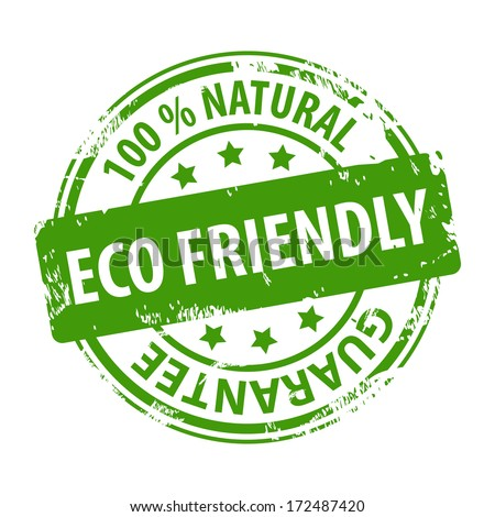 ECO Friendly 100 percent natural guarantee green rubber stamp symbol or icon isolated on white background. Vector illustration - stock vector