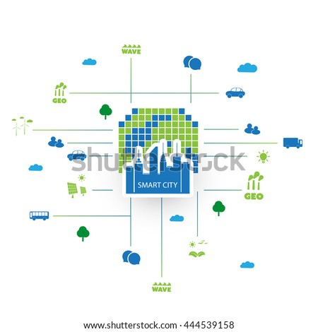 Eco Friendly Smart City Design Concept with Icons