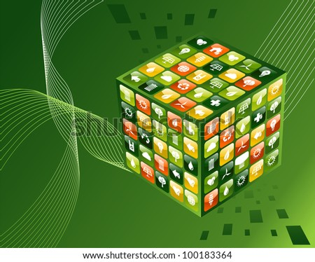 Eco friendly smart phone  app cube with icon set background. Vector file available. - stock vector