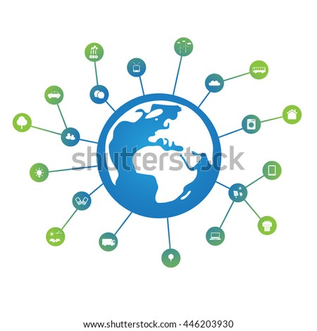 Eco Friendly Technology,  Worldwide Connections, Networks - Design Concept, Vector Template with Icons - stock vector