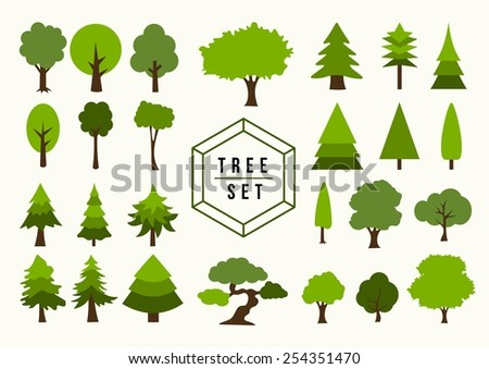 Eco friendly Trees shapes illustration set. Ideal for web icon, app design, poster or book cover. EPS10 vector file. - stock vector
