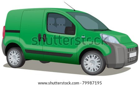 ECO friendly van, green deliveries - stock vector