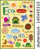 Eco friendly vector set - doodles and inscriptions. - stock vector