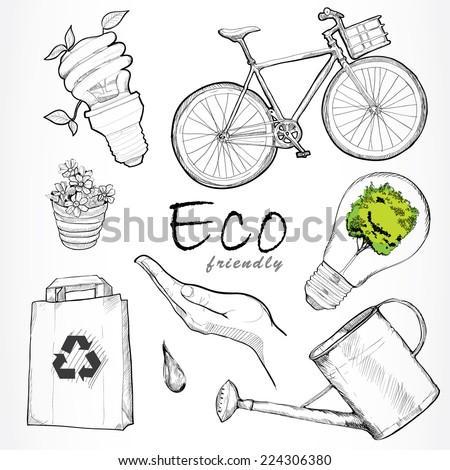 Eco friendly vector set. hand drawn design. - stock vector