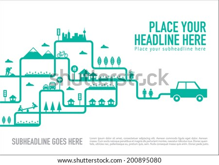 Eco friendly with vehicles icon info graphics template design - stock vector