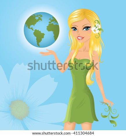 Eco-friendly woman holding the Earth. - stock vector