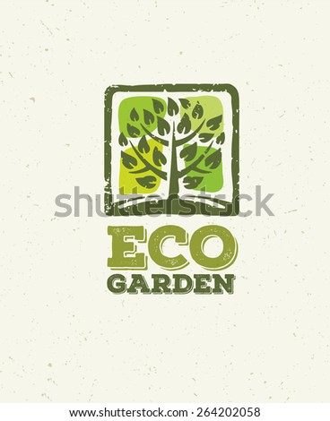 Eco Garden Organic Tree Nature Friendly Vector Concept on Recycled Paper Background - stock vector