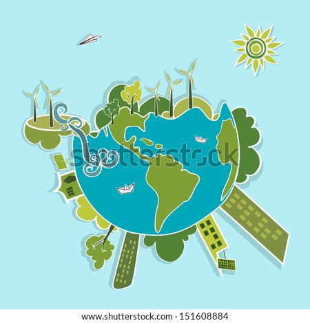 Eco global green planet earth, trees, continents, wind turbines and green sun illustration. Vector layered for easy editing.