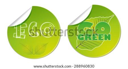 eco go green bio labels natural vector business shop sticker  - stock vector