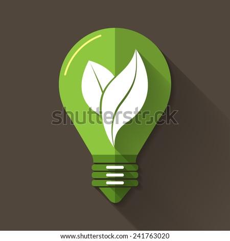 Eco graphic, Light bulb vector design in flat design & long shadow - stock vector