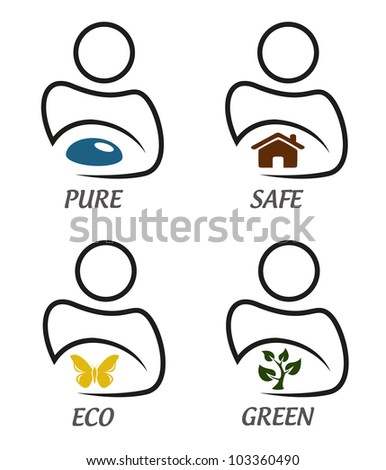 Eco green and environment protection icon set - stock vector