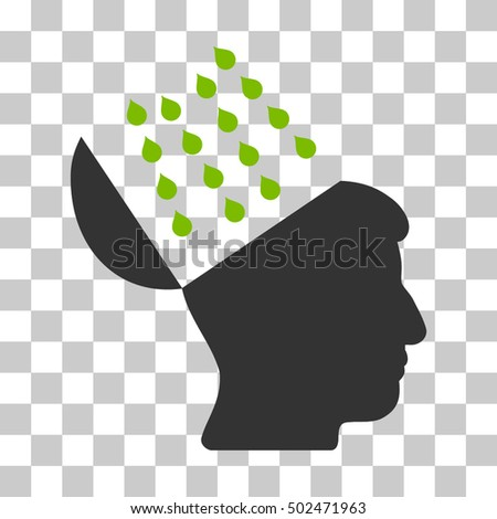 Eco Green And Gray Brain Shower toolbar pictogram. Vector pictograph style is a flat bicolor symbol on chess transparent background.