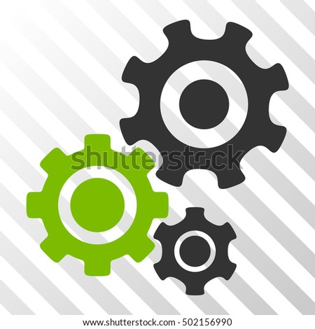 Eco Green And Gray Gear Mechanism interface pictogram. Vector pictograph style is a flat bicolor symbol on diagonal hatch transparent background.