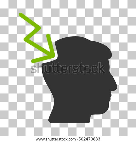 Eco Green And Gray Head Electric Strike interface pictogram. Vector pictograph style is a flat bicolor symbol on chess transparent background.