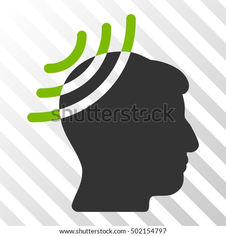 Eco Green And Gray Radio Reception Head toolbar icon. Vector pictogram style is a flat bicolor symbol on diagonal hatch transparent background.