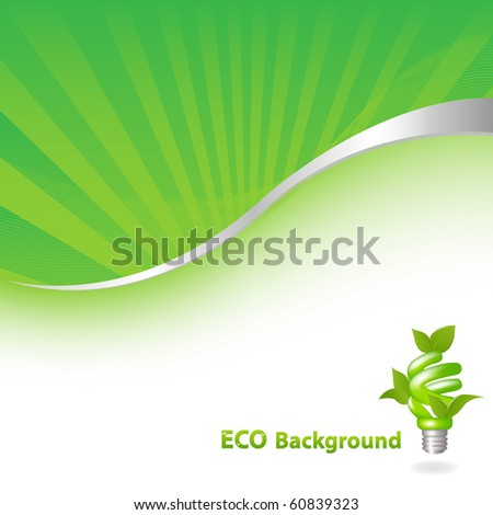 Eco Green Background With Eco Lamp, Vector Illustration