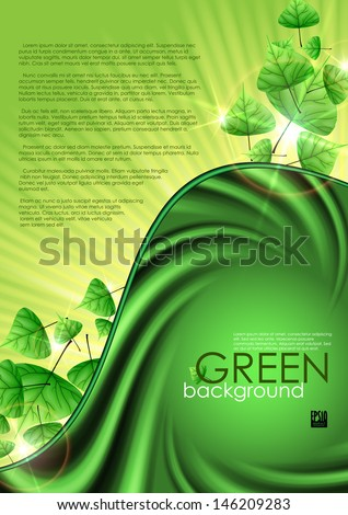 Eco green background with leaves. Vector illustration. Eps 10.