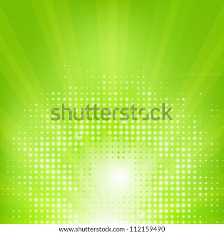 Eco Green Background With Sunburst, Vector Illustration