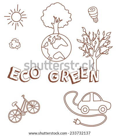 Eco Green Doodle Object Collection Hand Drawn Sketch Doodle