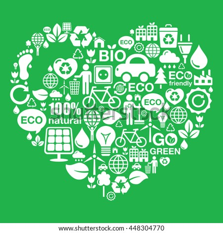 Eco green heart shape background - ecology, recycling concept  - stock vector