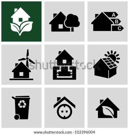 Eco green house icons set. Environmentally friendly home. - stock vector