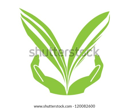 Eco green leaf with hand concept vector - stock vector