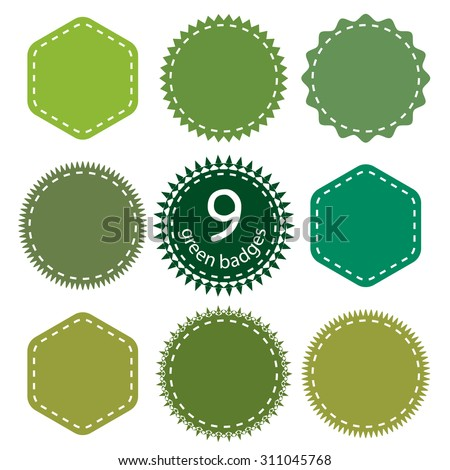 Eco, green, natural badges. Vector badges shapes Set. - stock vector