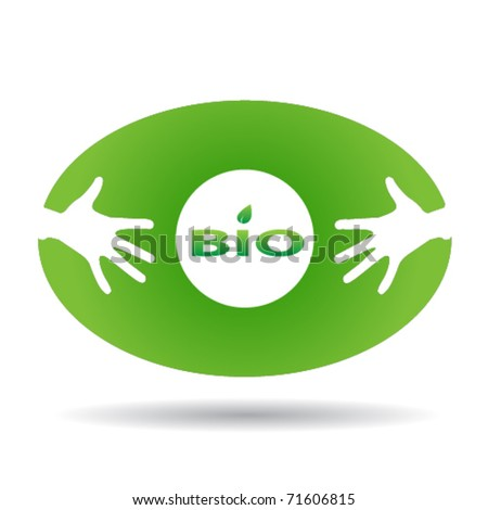 Eco green oval icon with hands - stock vector