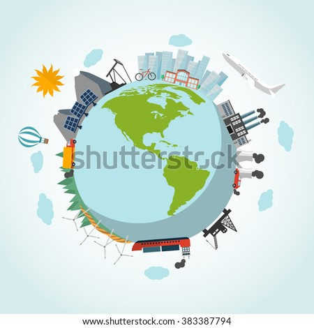 Eco green planet earth with sun, clouds, ship, car, airplane industry, city, solar plant, bicycle, oil pump jack, hot-air balloon, mountains in flat design