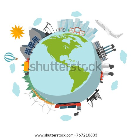 Eco green planet flat design isolated on white background