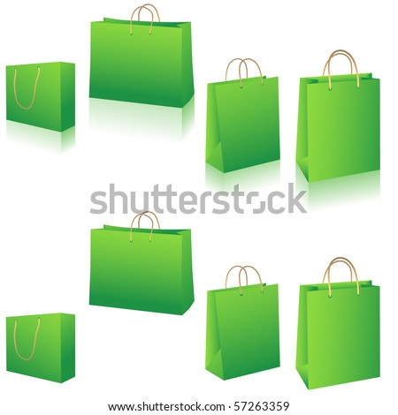 Eco green shopping bags set vector illustration - stock vector